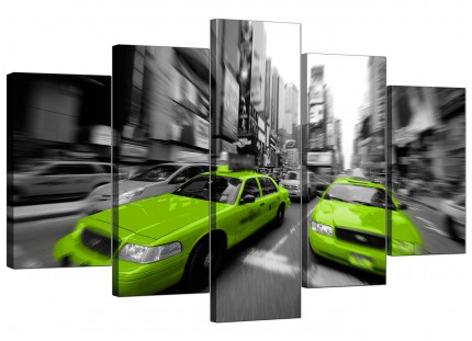 Lime Green Grey New York Taxi Cab Cityscape XL Canvas - 5 Piece - 160cm - 5027