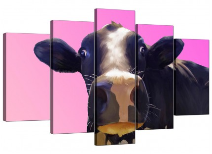 Extra Large Colourful Funky Cow Pink Pop Art Canvas - 5 Panel - 160cm - 5151