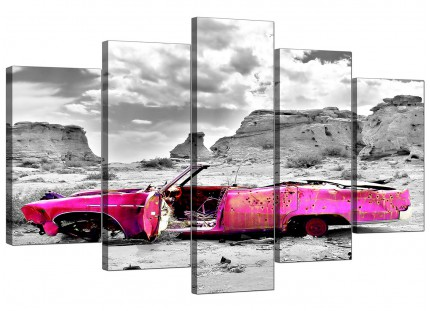 Pink Grey Black Abstract Desert Car Landscape XL Canvas - 5 Part - 160cm - 5145