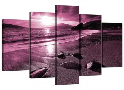 Plum Coloured Sunset Beach Scene Landscape XL Canvas - 5 Panel - 160cm - 5078
