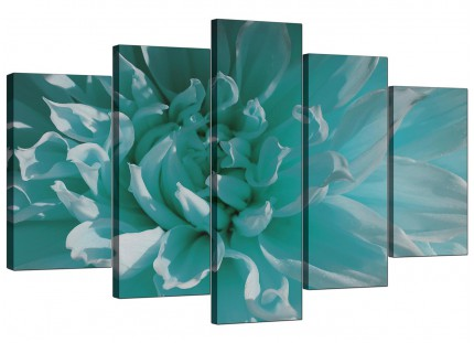 Extra Large Teal Blue Chrysanthemum Flower Floral Canvas - 5 Part - 160cm - 5103