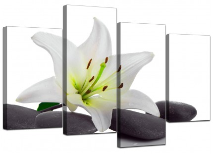 Black White Grey Lily Flower Stones Floral Canvas - Split 4 Piece - 130cm - 4024