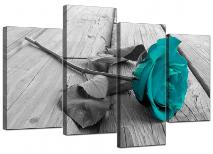Teal Rose Grey Black White Flower Floral Canvas - Split 4 Panel - 130cm - 4037