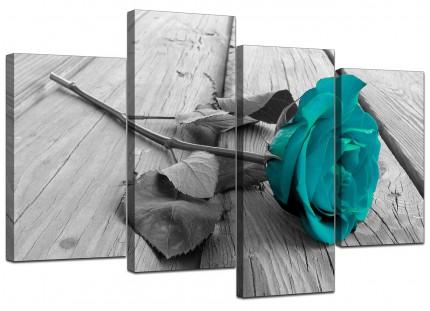 Teal Rose Grey Black White Flower Floral Canvas - Split 4 Panel - 130cm - 4037