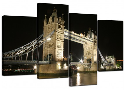 Black White Tower Bridge London Cityscape Canvas - Multi Set of 4 - 130cm - 4023