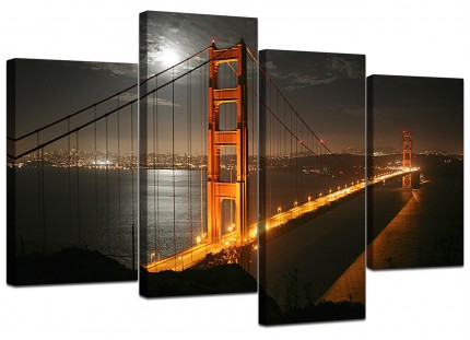 San Francisco Golden Gate Bridge Night Cityscape Canvas - 4 Piece - 130cm - 4038