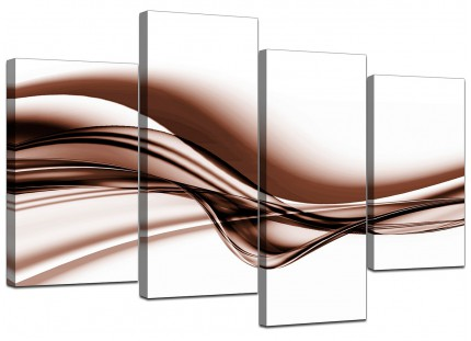 Brown and White Modern Wave Abstract Canvas - Split 4 Piece - 130cm - 4034