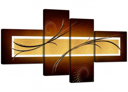 Brown and Gold Abstract Abstract Canvas - Split 4 Panel - 160cm - 4090