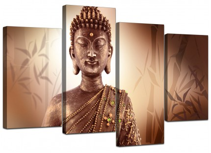 Abstract Modern Buddha Face Brown Zen Canvas - Multi 4 Panel - 130cm - 4101