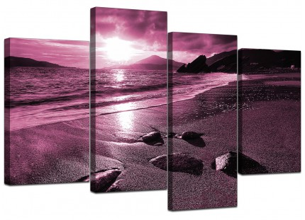 Plum Coloured Sunset Beach Scene Landscape Canvas - Split 4 Panel - 130cm - 4078