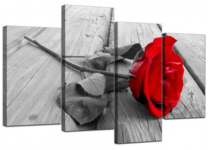 Red Rose Grey Black White Flower Floral Canvas - Split 4 Part - 130cm - 4005