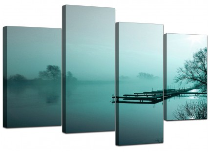 Teal Coloured Sunrise Jetty Lake View Landscape Canvas - 4 Piece - 130cm - 4118