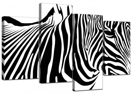 Black White Abstract Zebra Stripes Canvas - Multi 4 Panel - 130cm - 4022