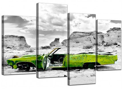Abstract Lime Green Grey Car Desert Landscape Canvas - 4 Part Set - 130cm - 4143