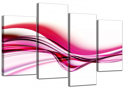 Pink and White Modern Wave Abstract Canvas - Split 4 Panel - 130cm - 4030