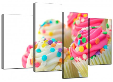 Pink White Cupcakes Kitchen Canvas - Split 4 Part - 130cm - 4084