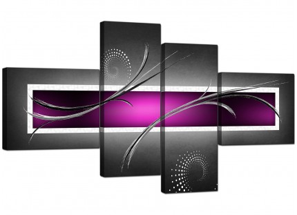 Purple Grey Black Modern Design Abstract Canvas - Split 4 Part - 160cm - 4092