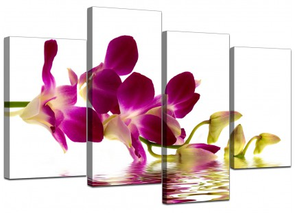 Purple Green White Orchid Flower Floral Canvas - Split Set of 4 - 130cm - 4021