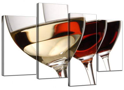 Red White Wine Glasses Kitchen Canvas - Multi 4 Set - 130cm - 4067