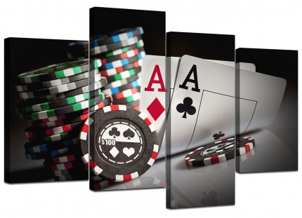 Poker Playing Cards Gambling Aces Canvas - Multi 4 Piece - 130cm - 4048