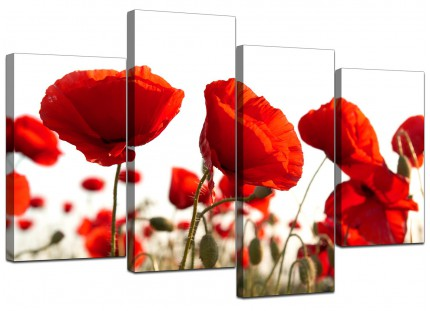 Red Poppy Field Poppies Flower White Floral Canvas - Multi 4 Set - 130cm - 4056