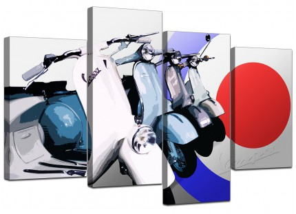 Vespa Scooter Mod Soul Retro 60's Canvas - Multi 4 Set - 130cm - 4149