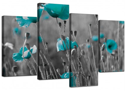 Teal Poppy Grey Black Poppies Flower Floral Canvas - 4 Part Set - 130cm - 4139