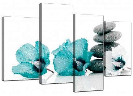 Teal Grey White Flowers Zen Stones Floral Canvas - Multi 4 Panel - 130cm - 4072