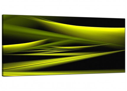 Large Lime Green & Black Waves Abstract Modern Canvas Art - 120cm - 1047