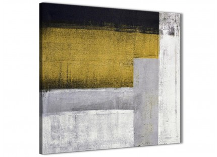 Mustard Yellow Grey Painting Kitchen Canvas Pictures Accessories - Abstract 1s425s - 49cm Square Print
