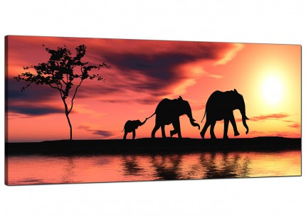 Large African Sunset Elephants Landscape Modern Canvas Art - 120cm - 1102