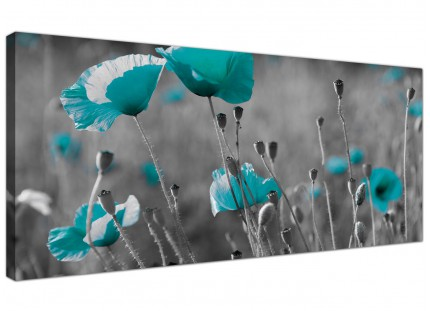 Large Teal Poppy Grey Black Poppies Flower Floral Canvas Art - 120cm - 1139
