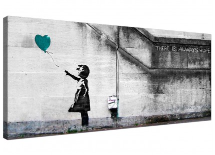 Large Banksy Balloon Girl Teal Heart Hope Modern Canvas Art - 120cm - 1220