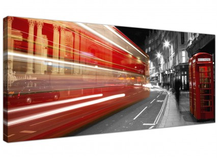 Large Black White Red London Bus Street Scene Cityscape Canvas - 120cm - 1127