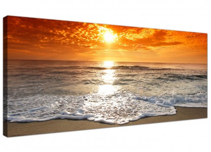 Large Ocean Sunset Beach Scene View Orange Landscape Canvas Art - 120cm - 1152