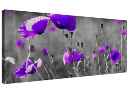 Large Purple Poppy Grey Black White Flower Floral Canvas Art - 120cm - 1136