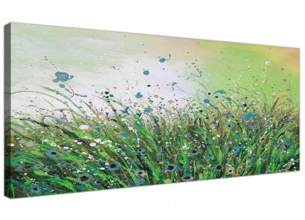 Large Green White Flowers Abstract Modern Floral Canvas Art - 120cm - 1261