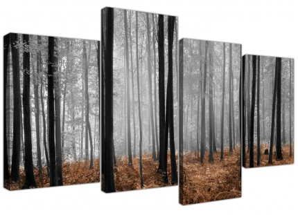 Black White Brown Grey Forest Woodland Trees Canvas - Set of 4 - 130cm - 4238