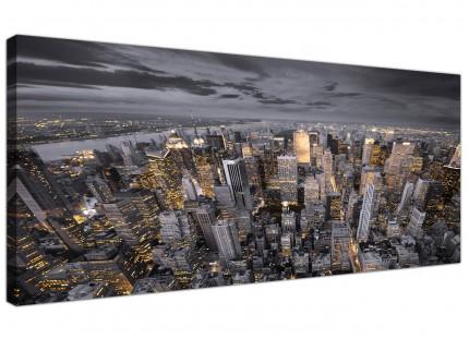 Large Black White Yellow New York Skyline Cityscape Canvas Prints - 120cm - 1269