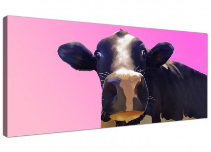 Large Colourful Funky Cow Pink Pop Art Modern Canvas Art - 120cm - 1151