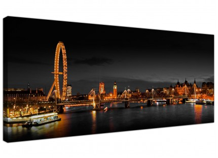 Large Panoramic London Eye at Night Big Ben Cityscape Canvas Art - 120cm - 1186
