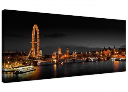 Large Panoramic London Eye at Night Big Ben Cityscape Canvas Art - 120cm - 1186