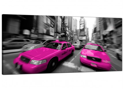 Large Pink Grey Black New York Taxi Cab Cityscape Canvas Art - 120cm - 1026