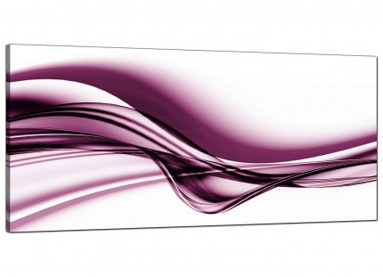 Large Plum Purple White Modern Wave Abstract Canvas Art - 120cm - 1032