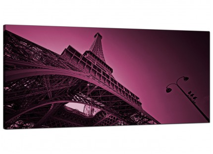 Large Purple Eiffel Tower Scene Paris Cityscape Modern Canvas Art - 120cm - 1015