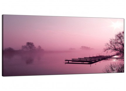 Large Plum Coloured Sunset Jetty Lake View Landscape Canvas Art - 120cm - 1120