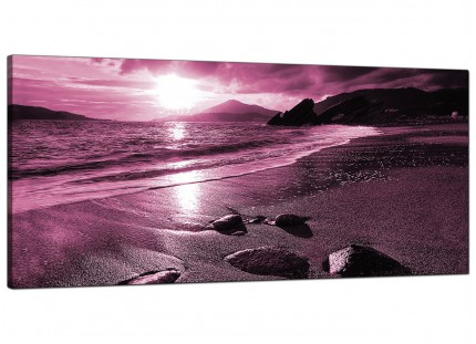 Large Plum Coloured Sunset Beach Scene Landscape Canvas Art - 120cm - 1078