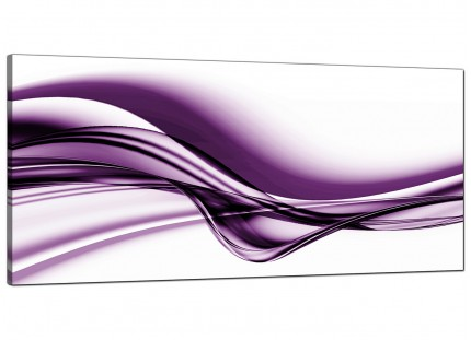 Large Purple and White Modern Wave Abstract Canvas Art - 120cm - 1031