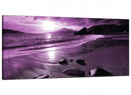 Large Purple Sunset Beach Scene Landscape Modern Canvas Art - 120cm - 1077
