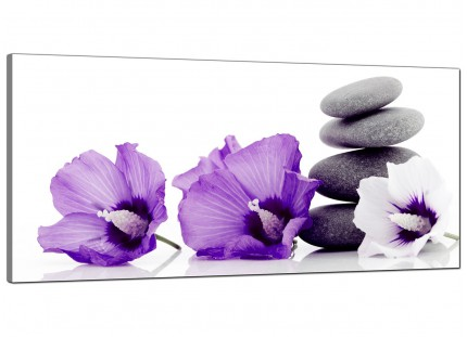 Large Purple Grey White Flowers Zen Stones Floral Canvas Art - 120cm - 1071
